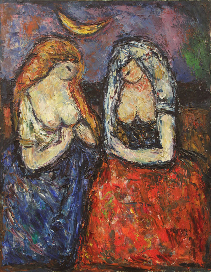 Oscar Barblan, Confidenze, Oil on canvas, 69 x 54 cm, 1985