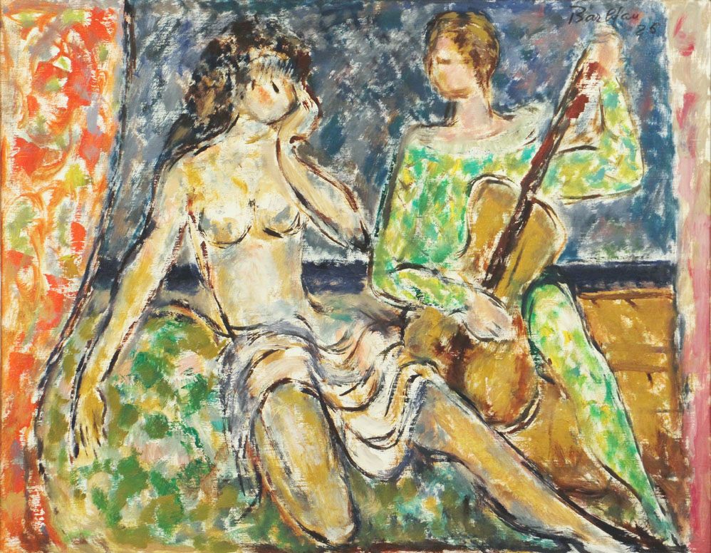 Oscar Barblan, Serenata, Oil on canvas, 69 x 54 cm, 1986