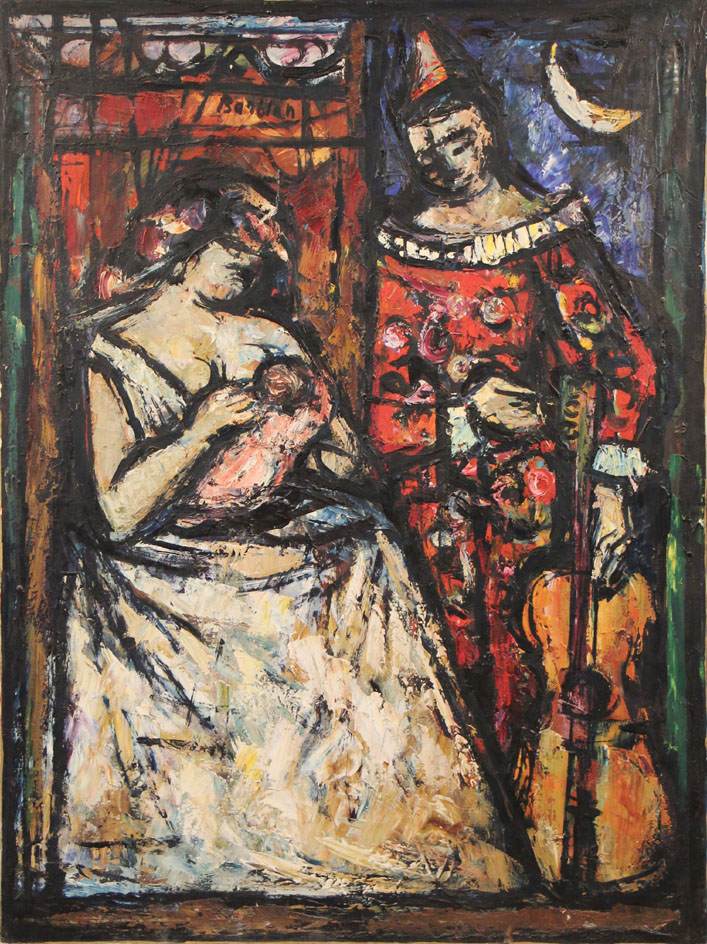 Oscar Barblan, Maternità al circo, Oil on canvas, 60 x 50 cm, 1961