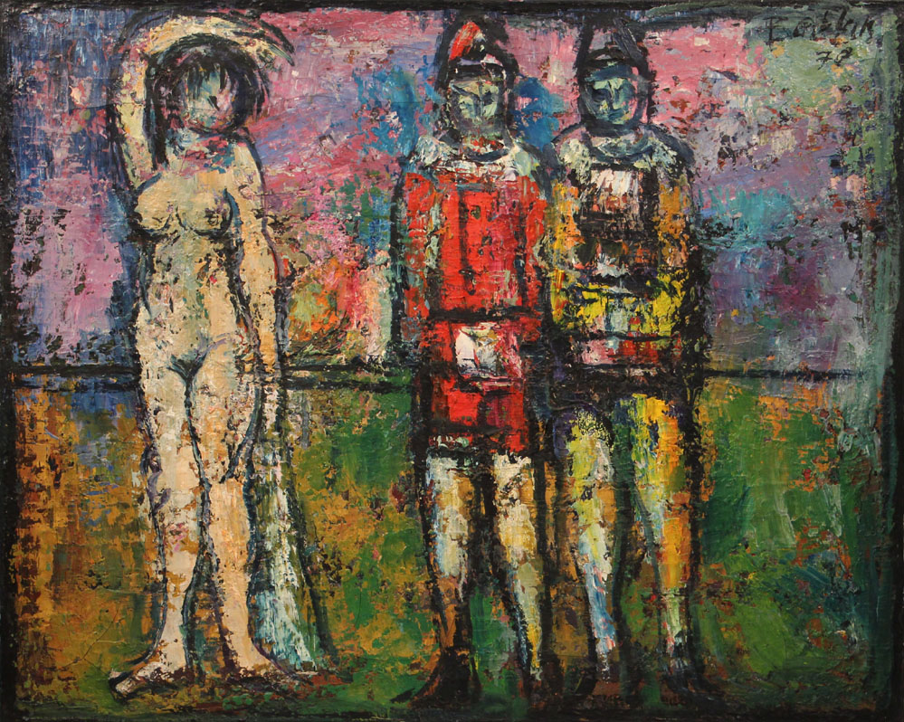 Oscar Barblan, Nudo con pagliacci, Oil on canvas, 65 x 80 cm, 1965-71