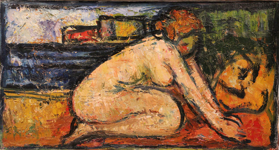 Oscar Barblan, Nudo disteso, Oil on canvas, 35 x 65 cm, 1967 ÖlZirkus4KP