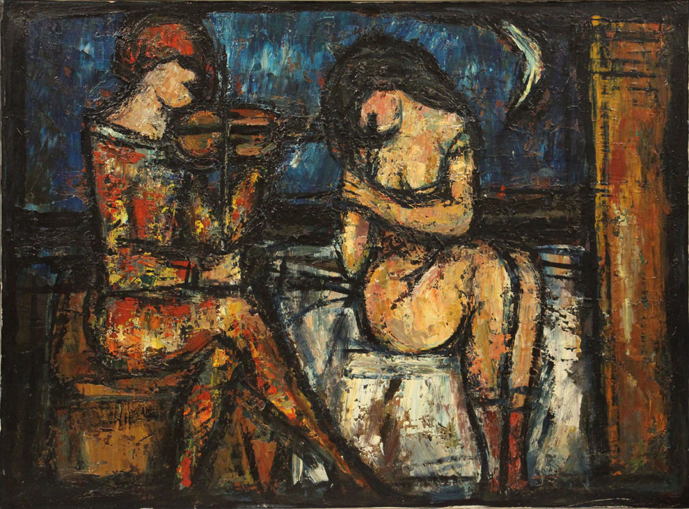 Oscar Barblan, Serenata, Oil on canvas, 60 x 81 cm, 1967