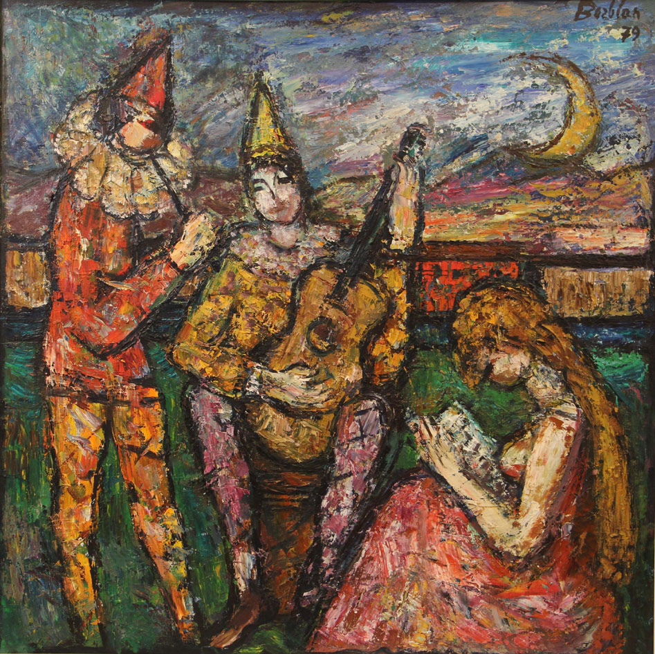 Oscar Barblan, Al chiaro di luna, Oil on canvas, 100 x 100 cm, 1979