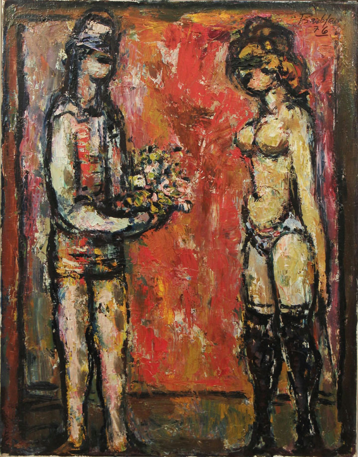 Oscar Barblan, Offerta floreale, Oil on canvas, 69 x 54 cm, 1976