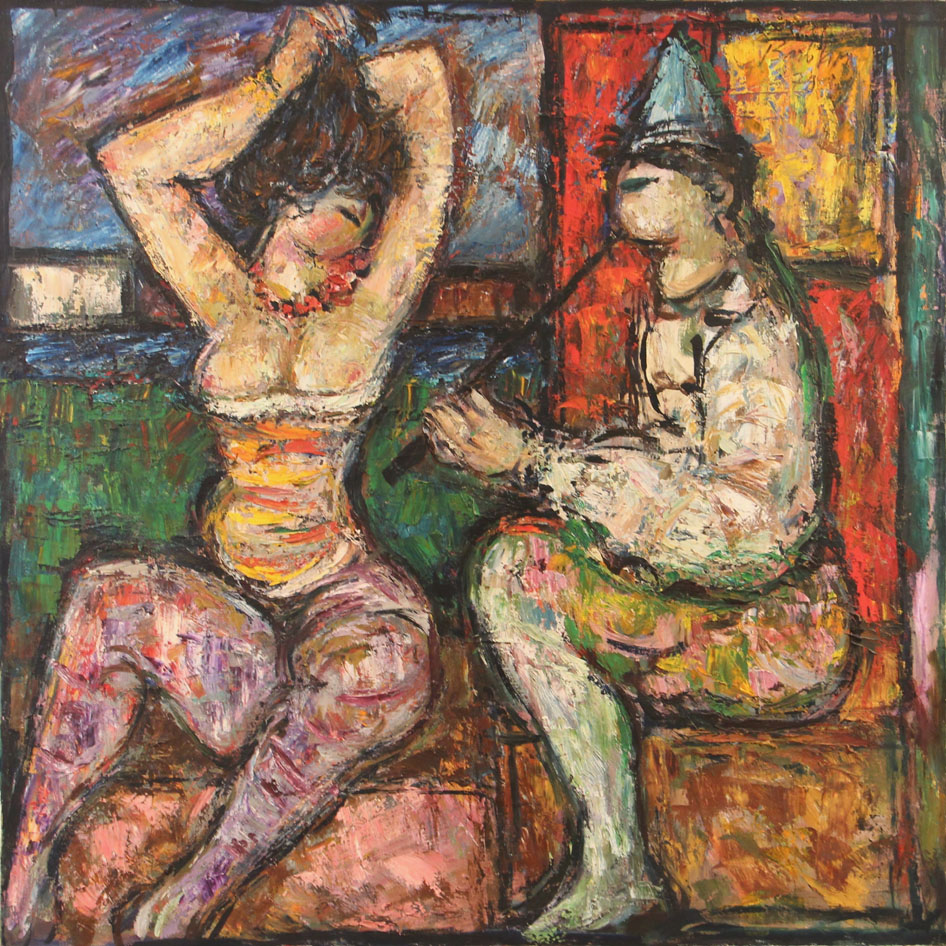 Oscar Barblan, Odalisca e suonatore, Oil on canvas, 100 x 100 cm, 1979