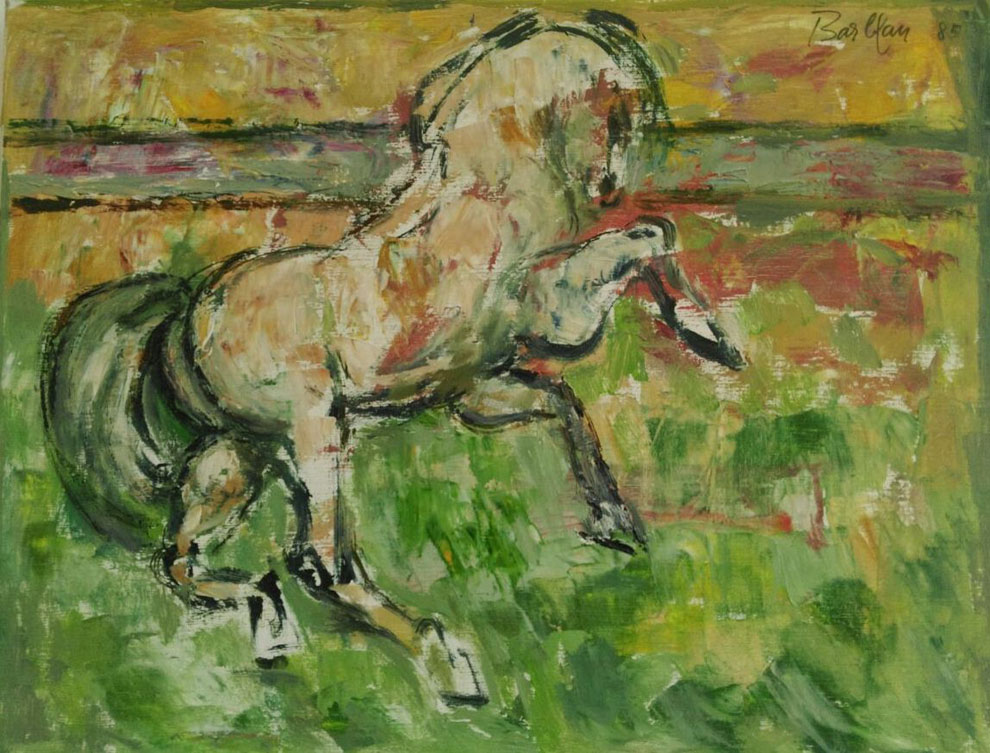 Oscar Barblan, Cavallo bianco, Oil on canvas, 54 x 69 cm, 1985