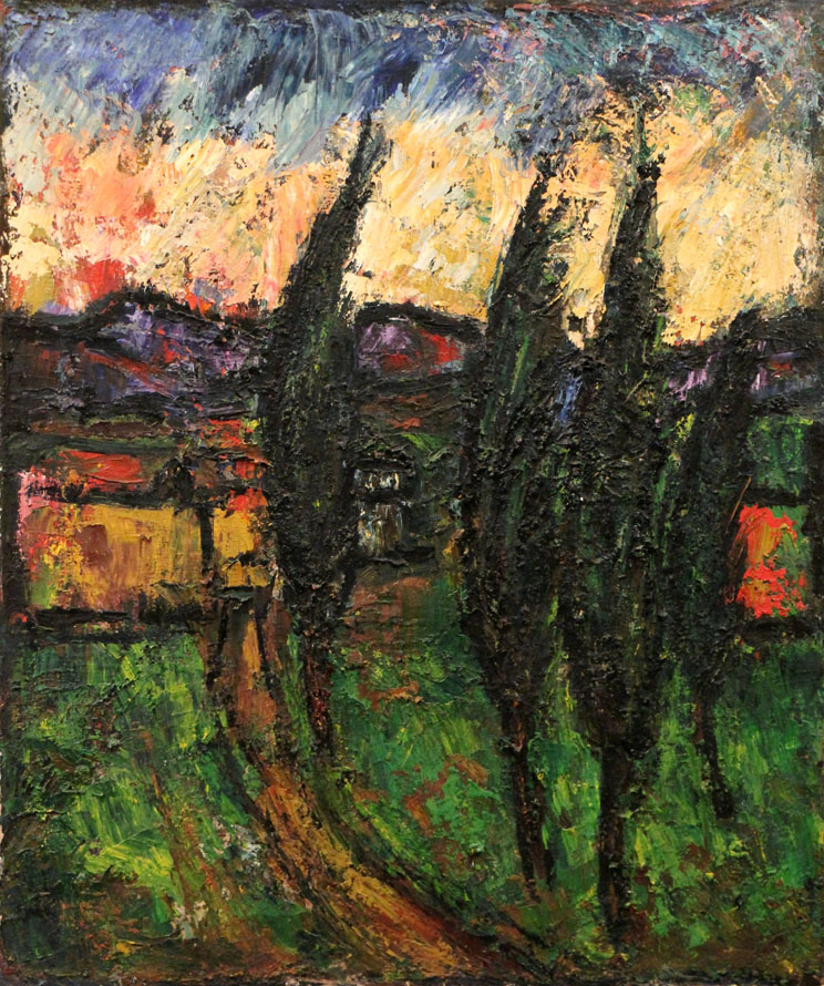 Oscar Barblan, Cipressi al tramonto, Oil on canvas, 60 x 50 cm, 1978