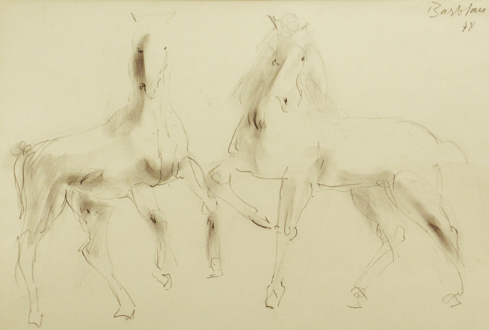Oscar Barblan, Cavalli, Drawing pencil on paper, 35 x 50 cm, 1978