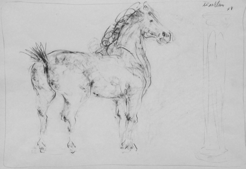 Oscar Barblan, Cavallo, Drawing pencil on paper, 35 x 50 cm, 1978
