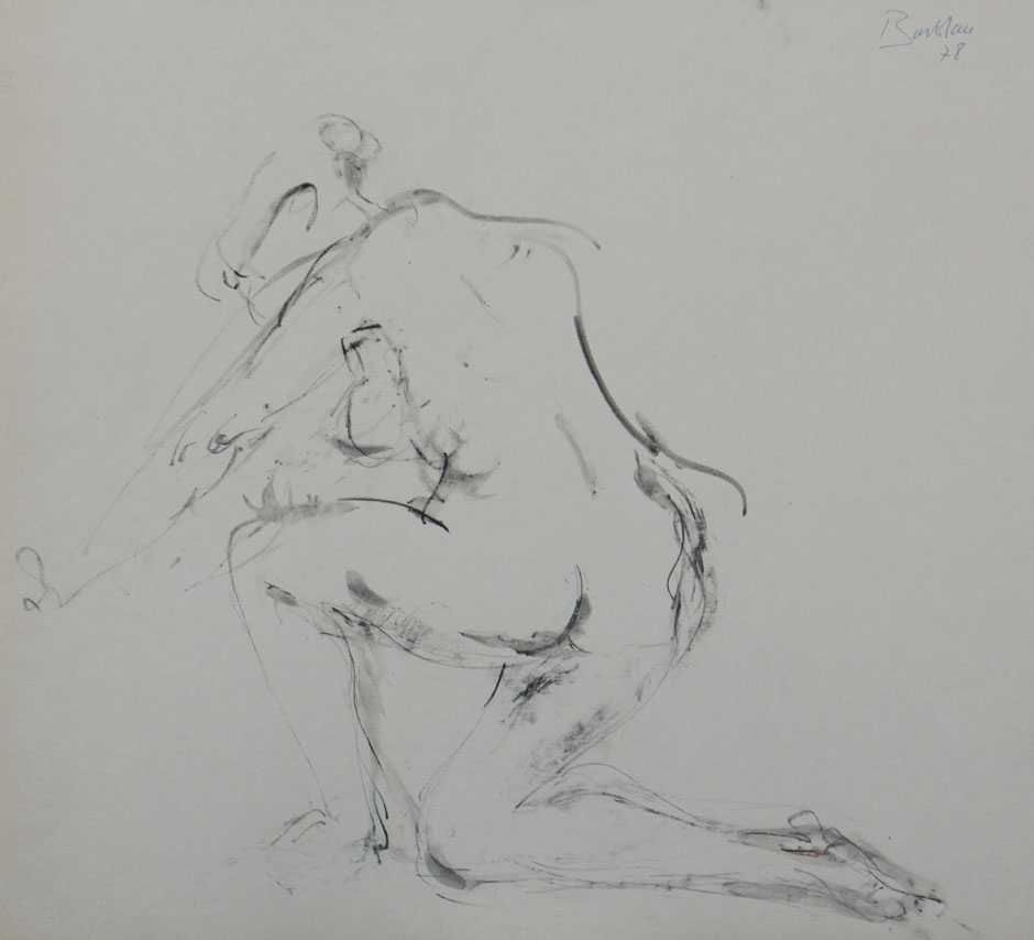 Oscar Barblan, Nudo, Drawing pencil and Water-colour on paper, 48 x 55 cm, 1978