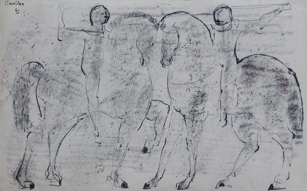 Oscar Barblan, Duello, Charcoal and Colored drawing on paper, 39 x 59 cm, 1960