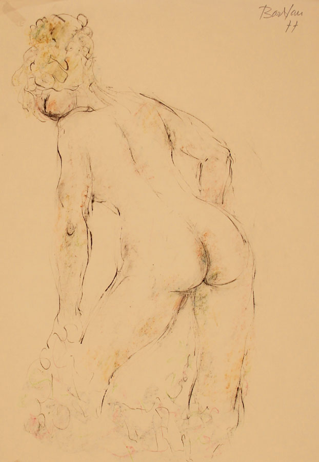Oscar Barblan, Nudo che si veste, Drawing pencil and Pastel on paper, 66 x 48 cm, 1977