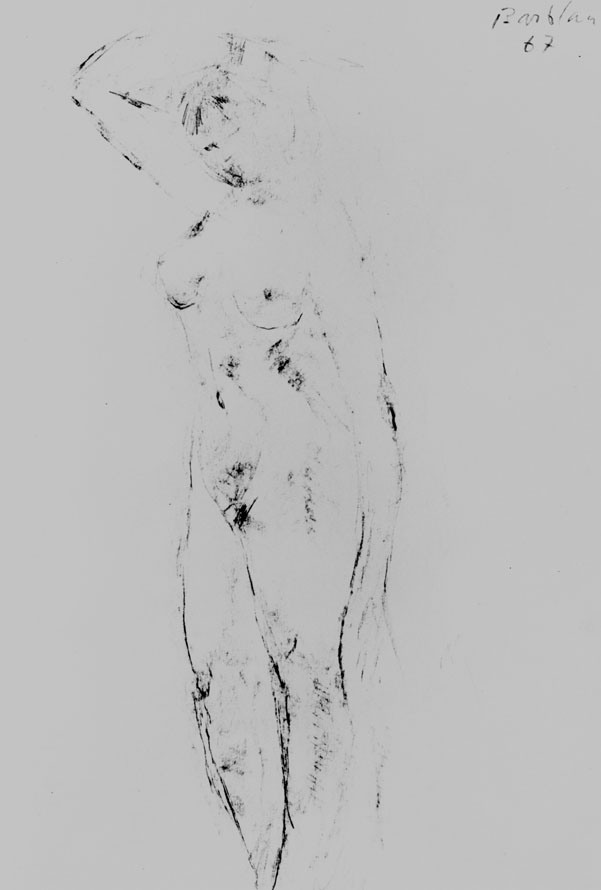 Oscar Barblan, Nudo in piedi, Drawing pencil on paper, 33 x 23 cm, 1967