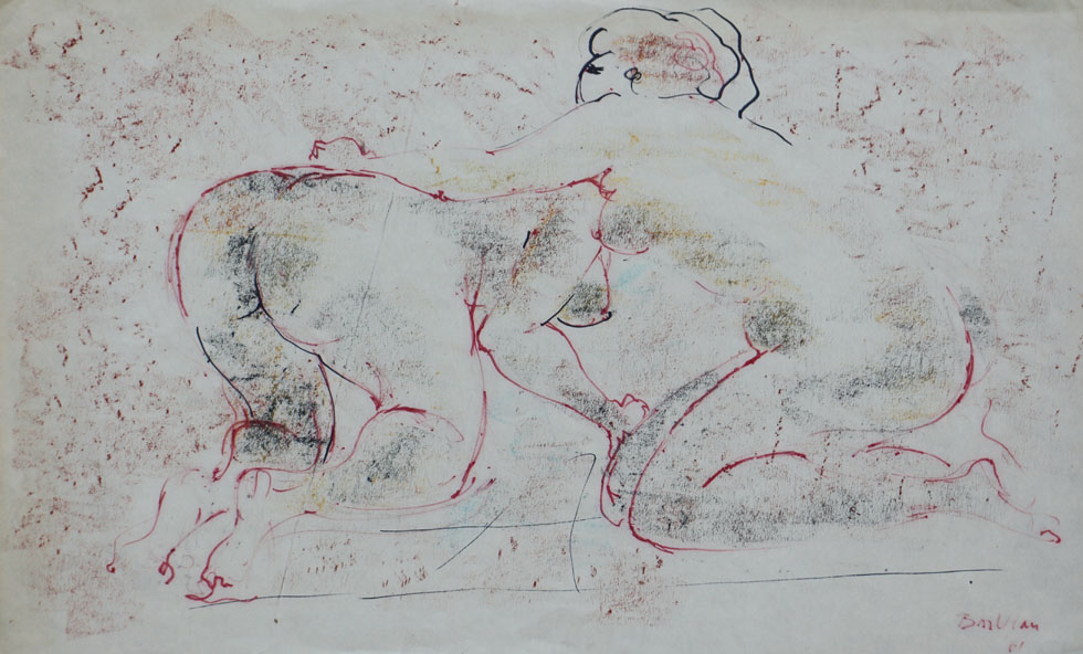 Oscar Barblan, Lotta di donne, Colored drawing and Pastel on paper, 37 x 59 cm, 1961