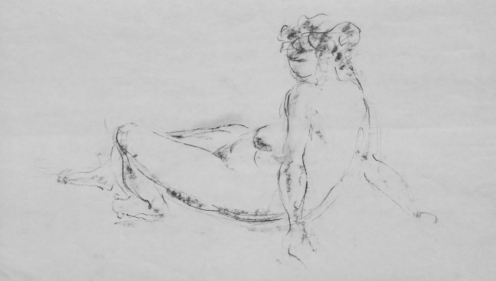Oscar Barblan, Nudo seduto, Drawing pencil on paper, 33 x 60 cm, 1970