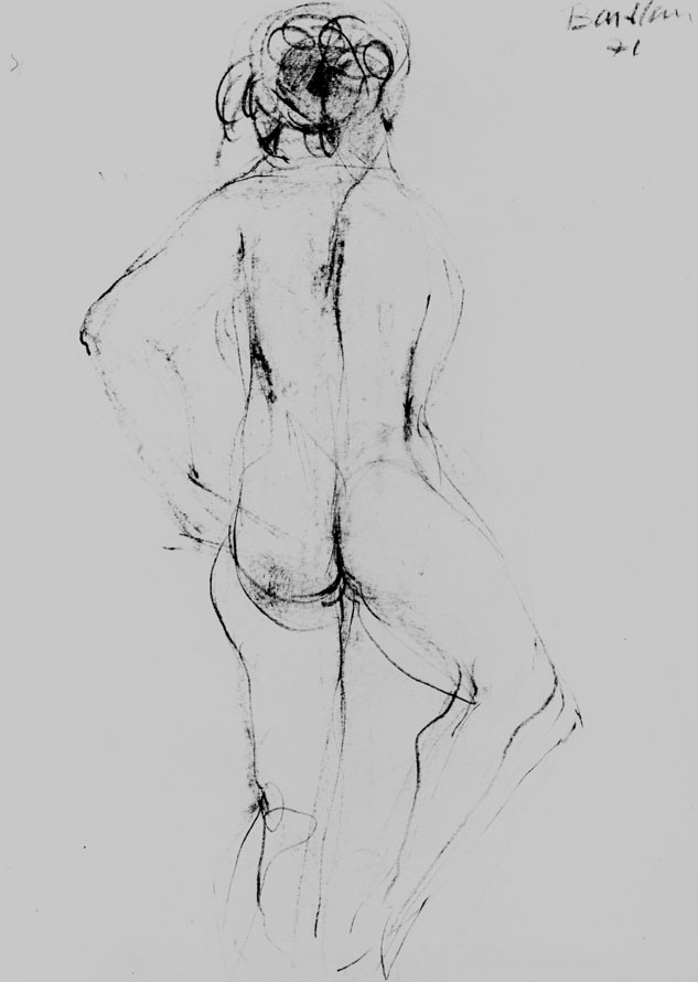 Oscar Barblan, Nudo di dorso,  Drawing pencil on paper, 30 x 21 cm, 1972